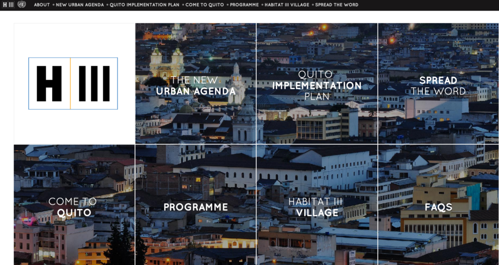 UN Habitat III conference in Quito, Ecuador, October 17-20, 2016
